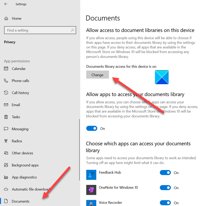 Disable apps from having Documents Library access