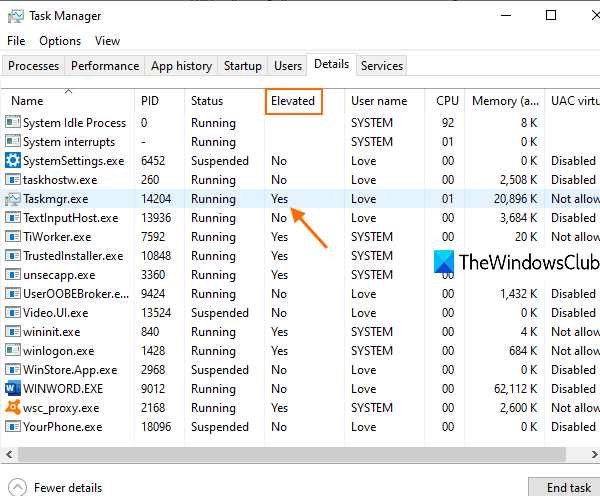 check if a process is running with admin rights in windows 10