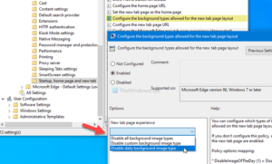How to configure image background types for Edge new tab page