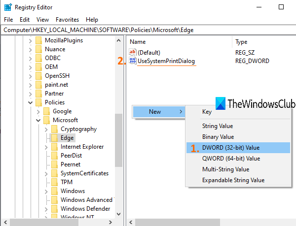 create UseSystemPrintDialog DWORD value
