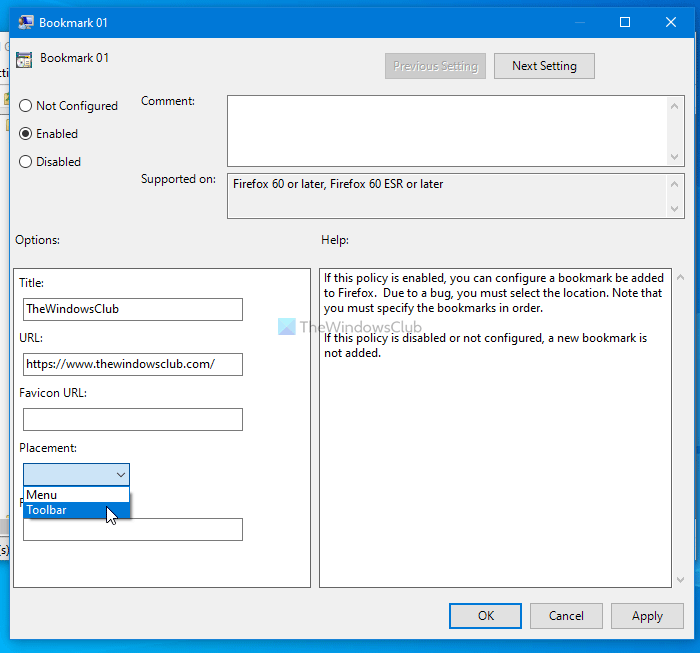 How to create Firefox bookmarks using Group Policy