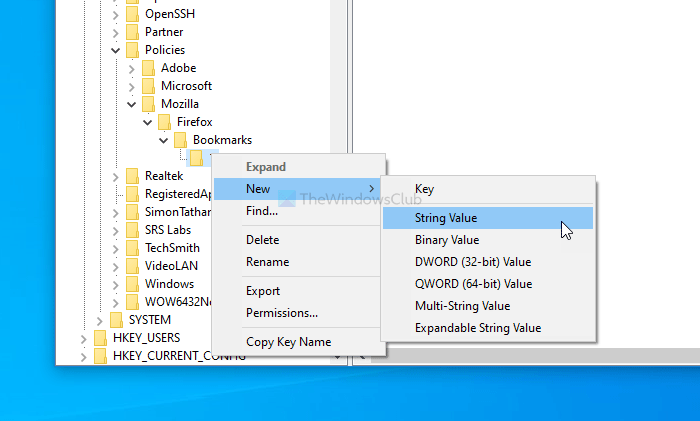 How to bookmark webpage in Firefox using Registry Editor