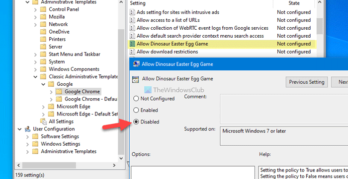 How to disable Dinosaur game in Google Chrome when device is offline