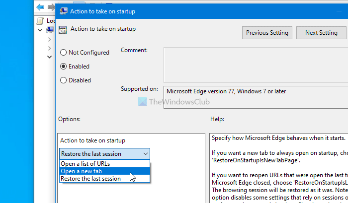How to disable Restore Pages notification in Edge browser