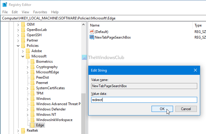 How to disable search box on new tab page in Edge using Registry Editor