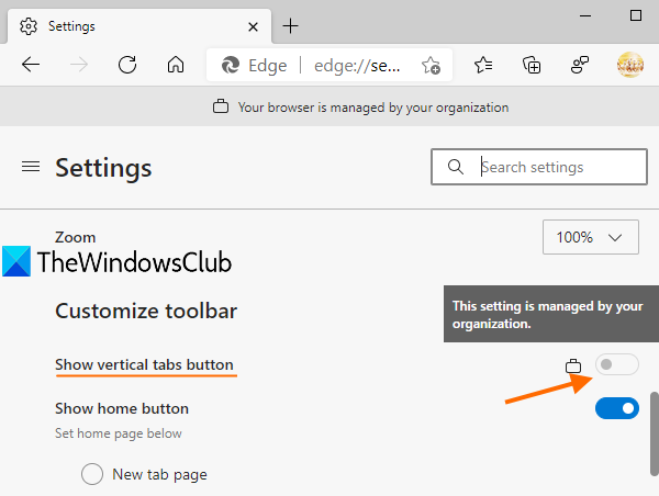 disable vertical tabs in Microsoft Edge