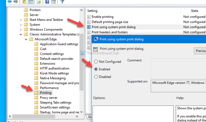 How to enable or disable System Print Dialog in Edge