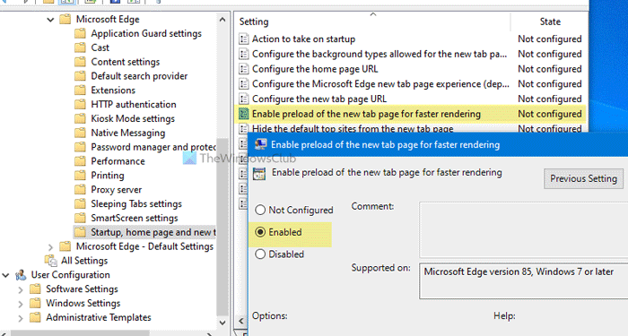 How to enable Preload new tab page on Edge using Group Policy