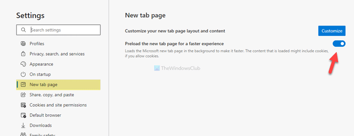 How to enable or disable Preload new tab page on Edge