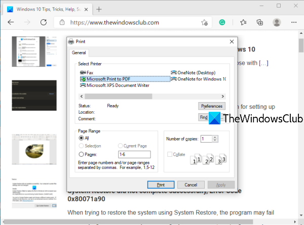 Enable System Print Dialog in Microsoft Edge
