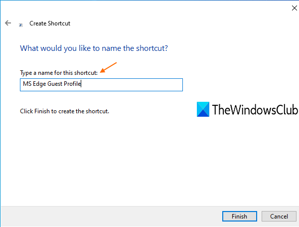 enter shortcut name and finish the wizard