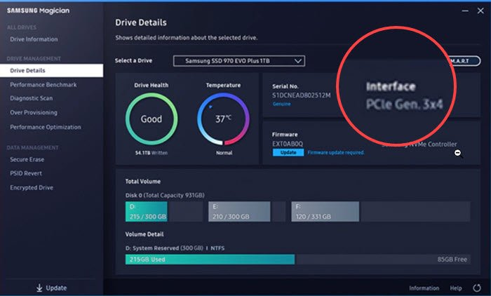 Samsung Magician Software to check interface of SSD drive