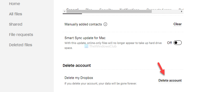 How to permanently delete Dropbox account