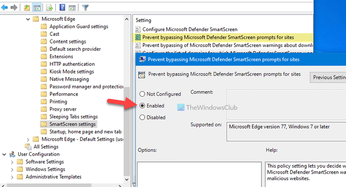 How to prevent users from bypassing SmartScreen warning in Edge
