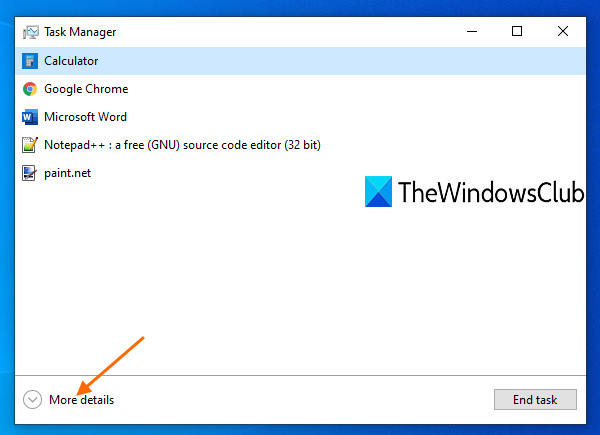 switch to More details view mode for Task Manager