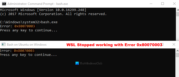 WSL Stopped working with Error 0x80070003