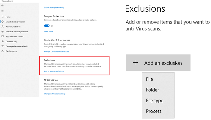 Add Exclusion to Windows Security