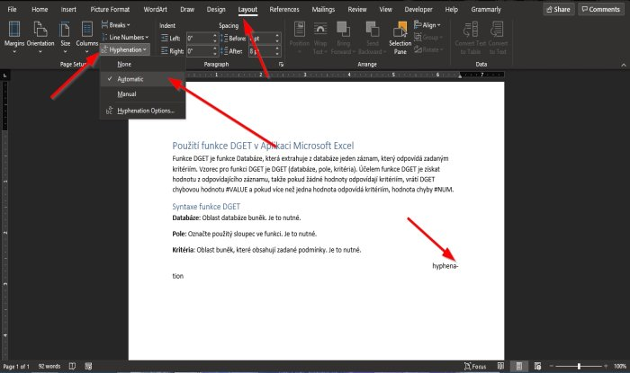 Hyphenation feature in Word