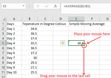 Calculate Simple Moving Average Excel_2