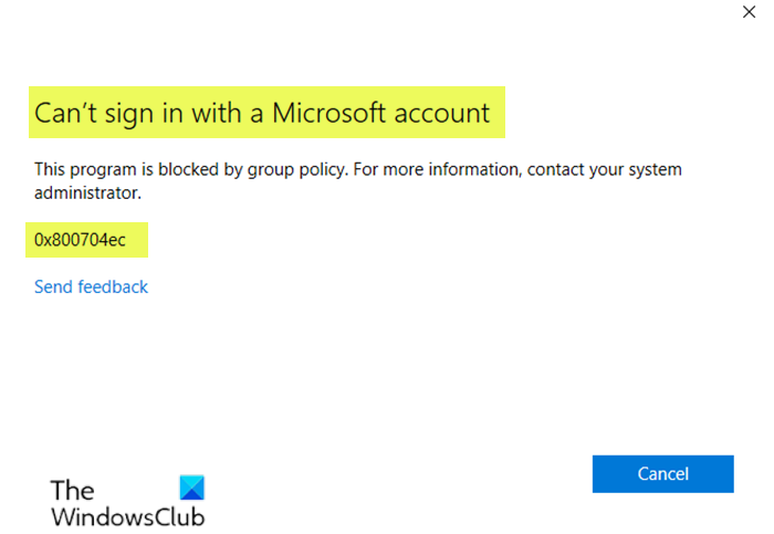 Can't sign in with a Microsoft account error 0x8000704ec