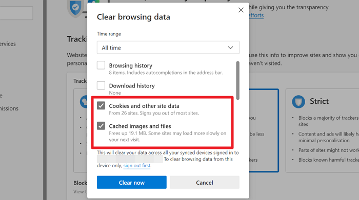 Clear cookies, cache and site data on Edge