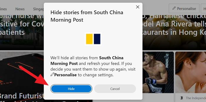Confirm Hide Stories from a Website