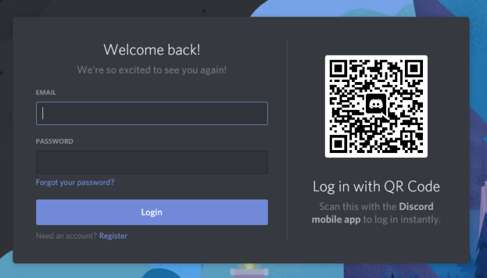 Log into Discord via QR code with a mobile device