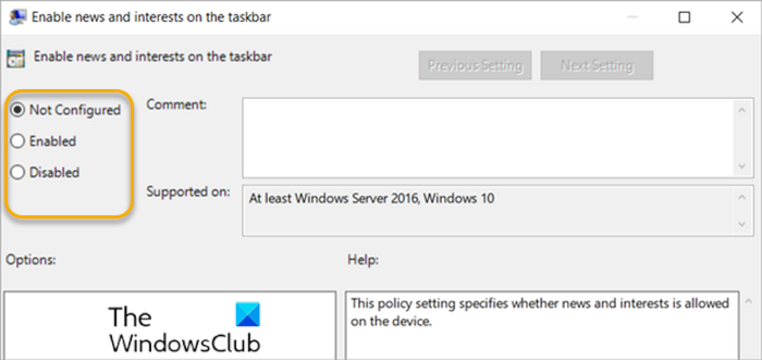 Enable or Disable News and Interests on Taskbar-GPEDIT