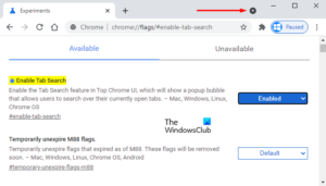 Enable or Disable Search Tabs Button from Google Chrome
