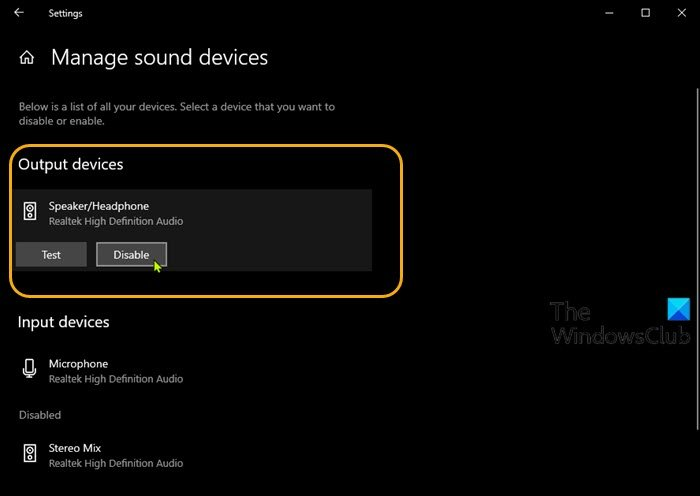 Settings (Manage sound devices) app