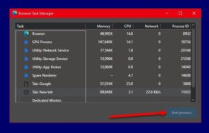 Disable End Process in the Browser Task Manager on Microsoft Edge