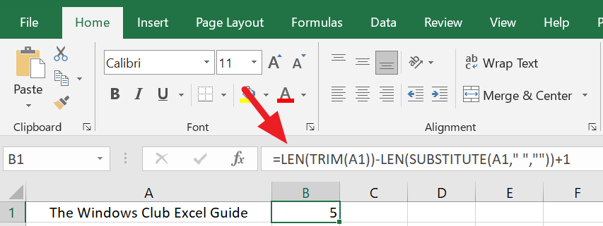 Excel Word Count with Spaces