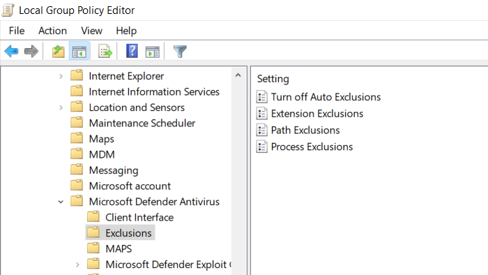 Gpedit exclusion method Windows Security