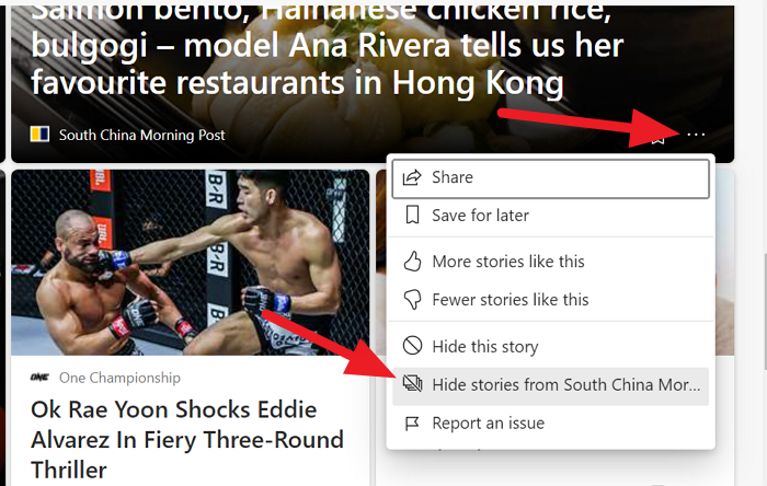 Hide stories from a particular website