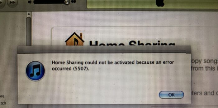 Home Sharing could not be activated, Error 5507
