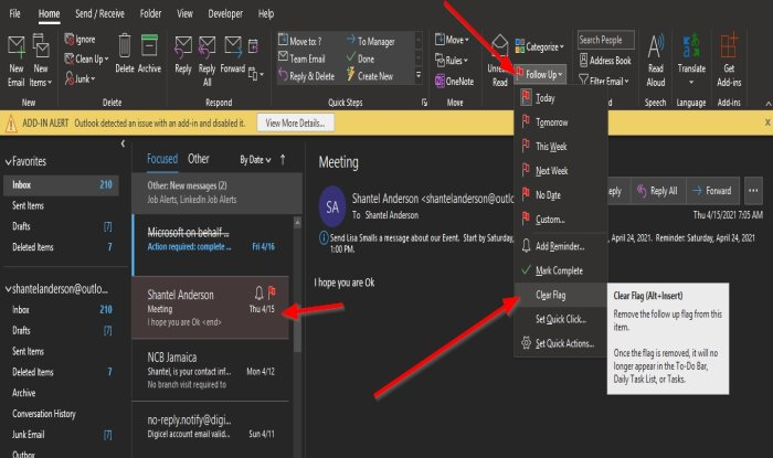 How to create, remove or set a Task Reminder in Outlook