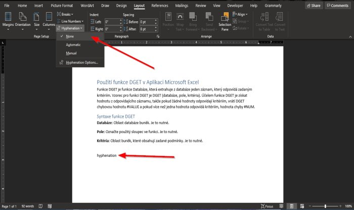 How to use the Hyphenation feature in Word