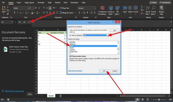 How to use the Rept Function in Excel