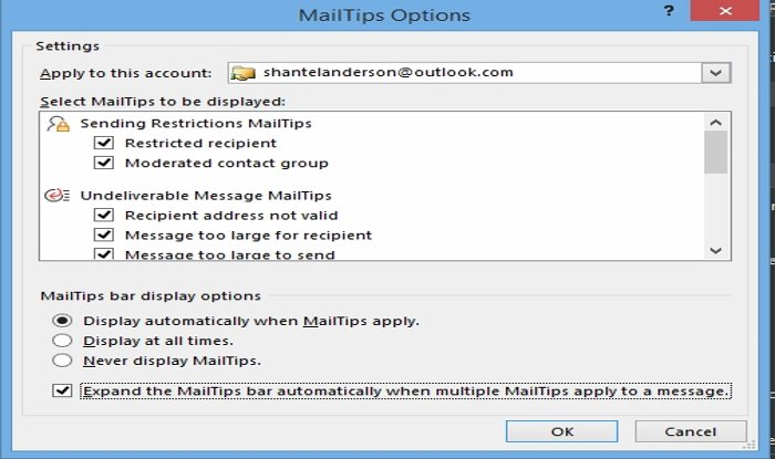 How to use MailTip options in Outlook