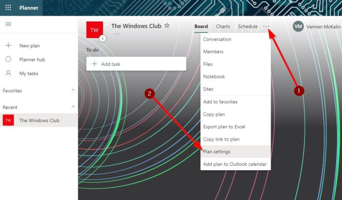 Change background in Microsoft Planner