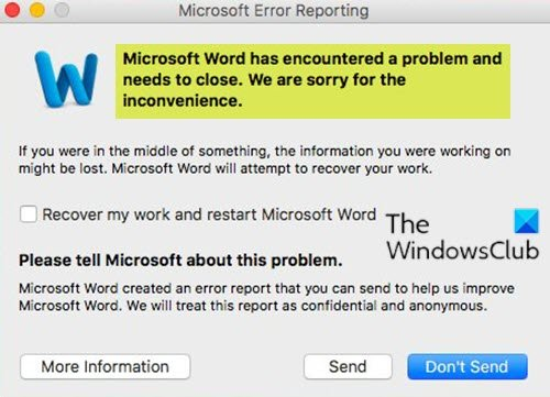 Word has encountered a problem and needs to close on Mac
