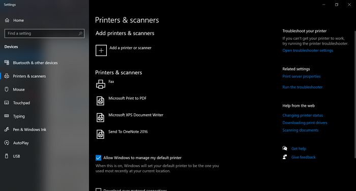 Printers & Scanners application window
