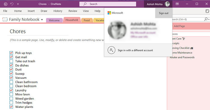 Re-Sign-in OneNote