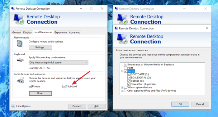 Cannot Copy Paste in Remote Desktop Session in Windows 10