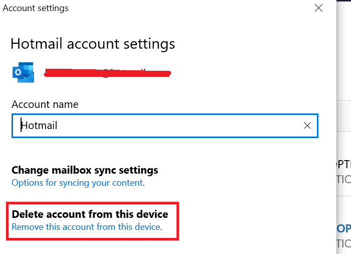 Remove account from Mail application