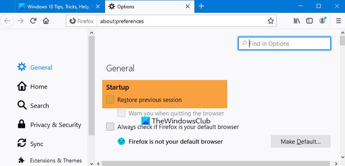 Restart browser without losing Tabs