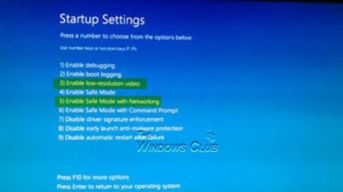 Startup Settings options-Windows 10