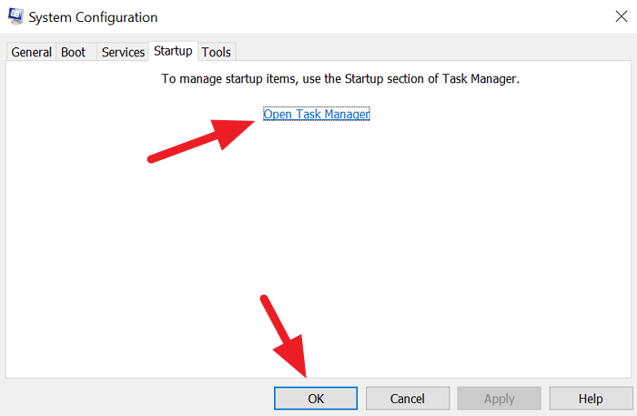 Startup Tab in System Configuration