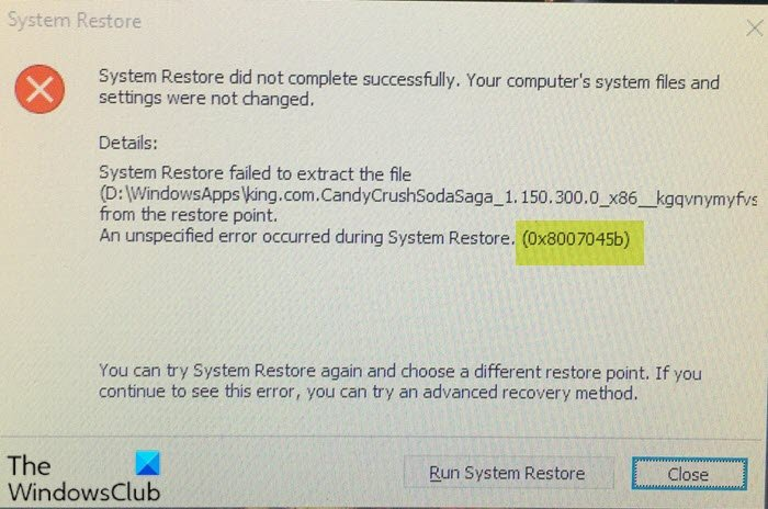System Restore error 0x8007045b