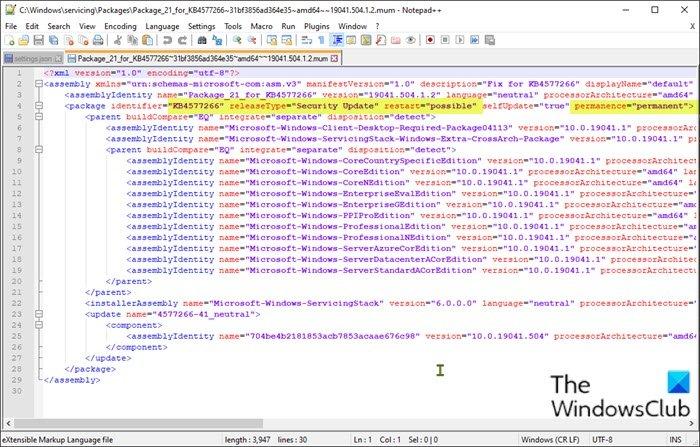 Uninstall Windows Updates without Uninstall option-MUM file